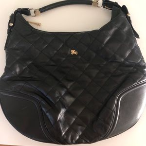 Black quilted leather Burberry Purse